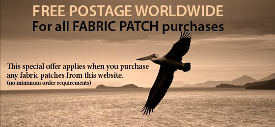 Free Postage for all fabric patch orders form this website