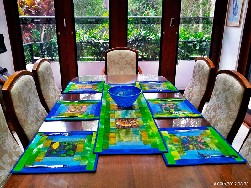 Tablesetting Placemats With Fabric Patches Naturesface Art
